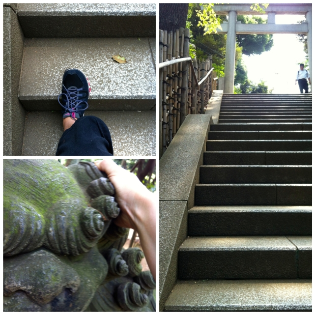 A Zen exercise environment...lovely stone stairs to run up and stretch on and lion statues to stretch my shoulders out!