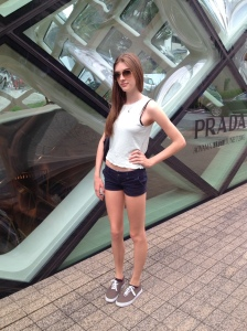 In front of the PRADA store