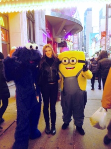 Karis with potential costumed pickpockets in NYC.